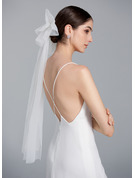 One-tier Cut Edge Elbow Bridal Veils With Lace