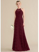 A-Line/Princess Scoop Neck Floor-Length Lace Evening Dress