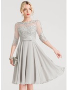 Scoop Neck Knee-Length Chiffon Cocktail Dress With Beading Bow(s)