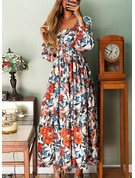 Floral Print A-line Square Neck Long Sleeves Maxi Elegant Skater Dresses