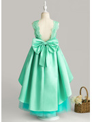 Ball-Gown/Princess Ankle-length Flower Girl Dress - Satin/Tulle/Lace Sleeveless Scoop Neck With Bow(s)