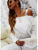 Regular Cotton Blends One Shoulder Print Sequins Heart Fitted Blouses