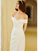 Trumpet/Mermaid Off-the-Shoulder Court Train Wedding Dress With Ruffle