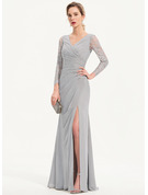 Sheath/Column V-neck Floor-Length Chiffon Evening Dress With Split Front