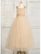 Ball Gown Floor-length Flower Girl Dress - Tulle/Lace Sleeveless Straps With Flower(s)