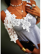 Regular Cotton Blends Lace Cold Shoulder Lace 3XL L S M XL XXL Blouses