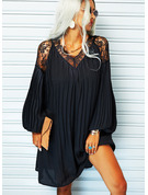 Lace Solid Shift V-Neck Long Sleeves Midi Elegant Little Black Tunic Dresses