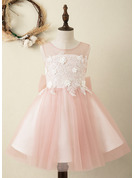 Knee-length Flower Girl Dress - Satin Tulle Sleeveless Scoop Neck With Bow(s) V Back