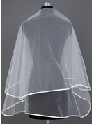 One-tier Waltz Bridal Veils With Ribbon Edge