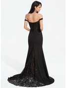 Trumpet/Mermaid Off-the-Shoulder Sweep Train Stretch Crepe Evening Dress With Sequins
