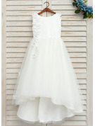 A-Line Asymmetrical Flower Girl Dress - Satin/Tulle Sleeveless Scoop Neck With Beading/Flower(s)/Bow(s)