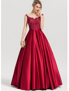 Ball-Gown/Princess Scoop Neck Floor-Length Satin Prom Dresses With Sequins