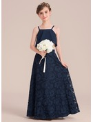 A-Line/Princess Floor-length Flower Girl Dress - Chiffon/Lace Sleeveless Square Neckline
