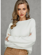Solid Cotton Off the Shoulder Pullovers Sweaters