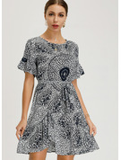 Cotton Blends With Print Above Knee Dress