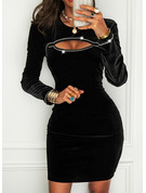 Sequins Solid Bodycon Round Neck Long Sleeves Midi Little Black Party Dresses