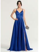V-neck Sweep Train Satin Prom Dresses With Split Front