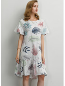 Polyester/Spandex With Print/Ruffles Knee Length Dress