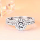Sterling Silver Cubic Zirconia Round Round Cut Promise Rings Bridal Sets Stackable Rings