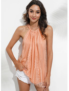 Sleeveless Lace Polyester Cold Shoulder Tank Tops Blouses