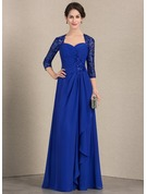 A-Line/Princess Sweetheart Floor-Length Chiffon Sequined Mother of the Bride Dress With Cascading Ruffles
