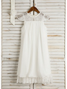 Tea-length Flower Girl Dress - Chiffon Sleeveless Scoop Neck With Lace Flower(s)