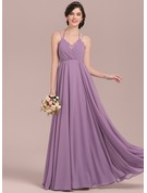 Empire V-neck Floor-Length Chiffon Bridesmaid Dress With Ruffle Lace Bow(s)