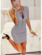 Print Bodycon V-Neck Sleeveless Midi Casual Elegant Dresses