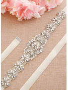 Unique Satin Sash With Rhinestones/Imitation Pearls