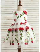 A-Line/Princess Knee-length Flower Girl Dress - Satin/Tulle Sleeveless Scoop Neck With Appliques