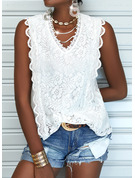 Regular Lace Solid Casual Sleeveless