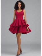 A-Line V-neck Short/Mini Stretch Crepe Homecoming Dress With Cascading Ruffles
