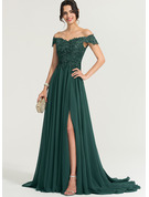 Off-the-Shoulder Sweep Train Chiffon Prom Dresses With Sequins Split Front
