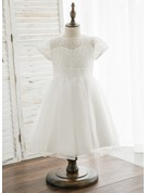 Knee-length Flower Girl Dress - Organza Lace Short Sleeves Scoop Neck