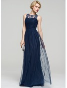 A-Line/Princess Scoop Neck Floor-Length Tulle Evening Dress With Ruffle Lace