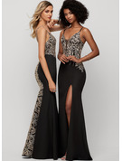Trumpet/Mermaid V-neck Floor-Length Stretch Crepe Prom Dresses With Split Front