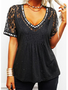 Regular Cotton Blends V-Neck Lace Print Sequins Fitted Blouses