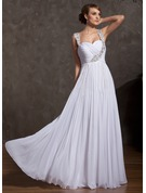 A-Line/Princess Sweetheart Floor-Length Chiffon Holiday Dress With Ruffle Beading