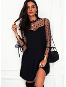 PolkaDot Solid Shift High Neck Long Sleeves Midi Elegant Little Black Dresses