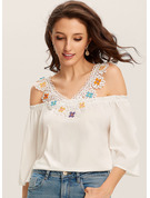 1/2 Sleeves Lace Polyester Cold Shoulder T-shirt Blouses