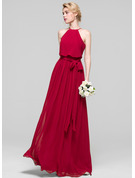 Scoop Neck Floor-Length Chiffon Bridesmaid Dress With Bow(s)