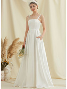 A-Line Square Neckline Floor-Length Satin Wedding Dress With Pockets