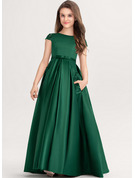 Scoop Neck Floor-Length Satin Lace Junior Bridesmaid Dress With Bow(s) Pockets