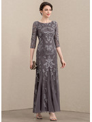 Sheath/Column Scoop Neck Ankle-Length Tulle Sequined Evening Dress