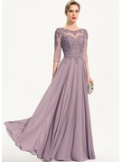 A-Line Scoop Neck Floor-Length Chiffon Evening Dress