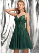 A-Line V-neck Short/Mini Tulle Homecoming Dress With Lace Sequins
