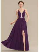 V-neck Floor-Length Chiffon Bridesmaid Dress With Beading Sequins Split Front Pockets