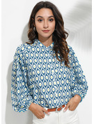 3/4 Sleeves Polyester V Neck Shirt Blouses Blouses