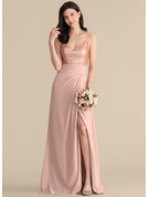 A-Line/Princess V-neck Floor-Length Chiffon Sequined Prom Dresses With Ruffle Split Front