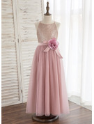 A-Line Ankle-length Flower Girl Dress - Tulle/Sequined Sleeveless Halter With Flower(s)